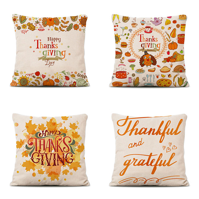 Set of 4 Farm Harvest Thanksgiving Theme Pillow Case Cushion Cover Lemon Summer Linen Home 18x18