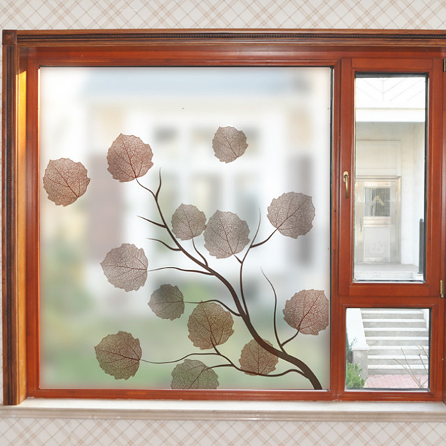 Leaves Pattern Matte Window Sticker Bathroom Kitchen Kids Room Shop Living Room Bedroom Balcony Window Film 60*58cm