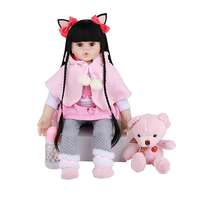 FeelWind 24 inch Reborn Doll Baby & Toddler Toy Reborn Toddler Doll Baby Girl Gift Cute Lovely Parent-Child Interaction Tipped and Sealed Nails 3/4 Silicone Limbs and Cotton Filled Body LV0108 with