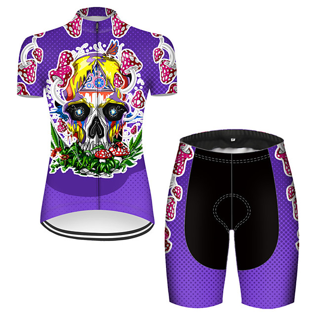 21Grams Women's Short Sleeve Cycling Jersey with Shorts Nylon Polyester Violet Novelty Skull Floral Botanical Bike Clothing Suit Breathable 3D Pad Quick Dry Ultraviolet Resistant Reflective Strips