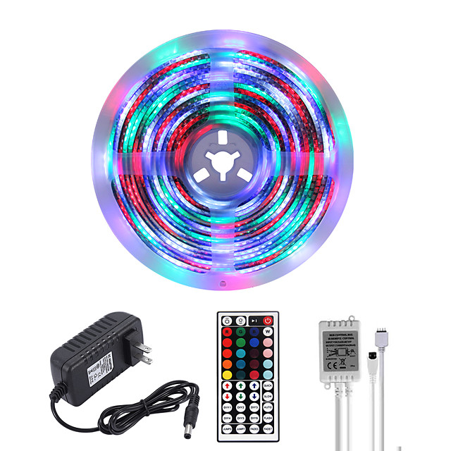 MASHANG Bright RGBW LED Strip Lights 5M Waterproof RGBW Tiktok Lights 1170LEDs SMD 2835 with 44 Keys IR Remote Controller and 100-240V Adapter for Home Bedroom Kitchen TV Back Lights DIY Deco