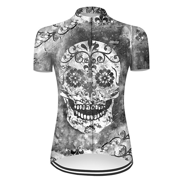 21Grams Women's Short Sleeve Cycling Jersey Nylon Polyester Grey Novelty Skull Floral Botanical Bike Jersey Top Mountain Bike MTB Road Bike Cycling Breathable Quick Dry Ultraviolet Resistant Sports