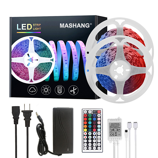 MASHANG LED Strip Lights 32.8ft 10M RGB Tiktok Lights 300LEDs SMD 5050 with 44 Keys IR Remote Controller and 100-240V Adapter for Home Bedroom Kitchen TV Back Lights DIY Deco
