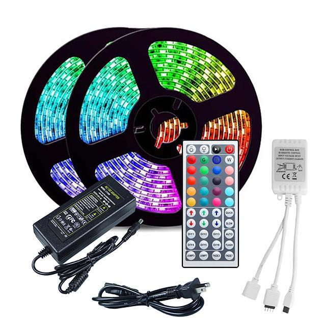 LOENDE 10M LED Strip Lights RGB Tiktok Lights 3528 SMD 600 LED String Tape 44 Key IR Remote control LED Ribbon Tape Under Cabinet Cupboard Decoration