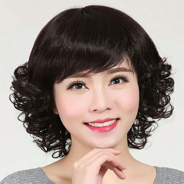 Synthetic Wig Curly With Bangs Wig Short Natural Black Synthetic Hair 12 inch Women's Simple Life Women Black