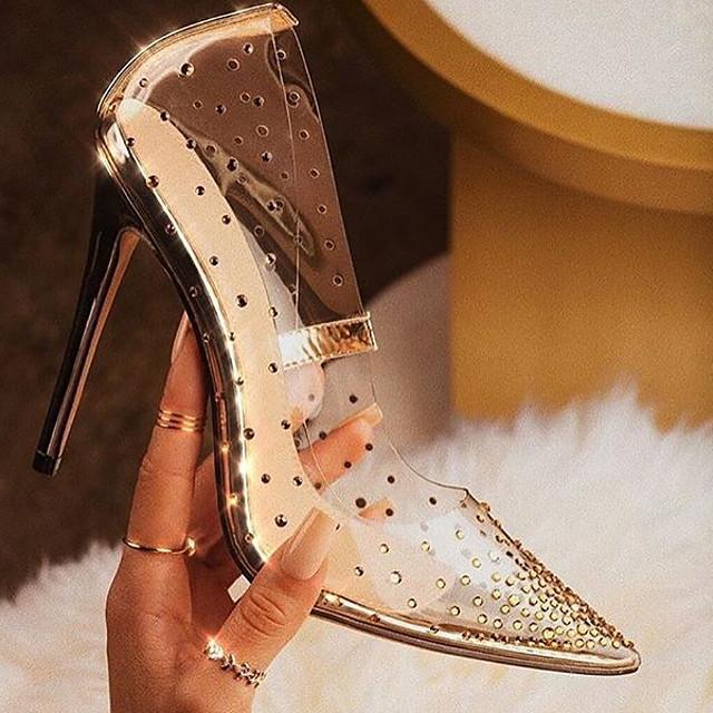 Women's Heels Summer Stiletto Heel Pointed Toe Daily PU Gold