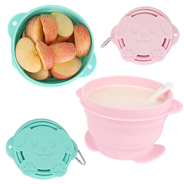 Foldable Silicone Bowl With Lid Picnic Bowl Portable Retractable Lunch Box Instant Noodle Bowl Cute Pet Bowl 720ML