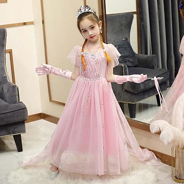 Fairytale Frozen Dress Girls' Movie Cosplay Cosplay European Pink / Blue / Purple (With Accessories) Dress Children's Day Polyester Cotton