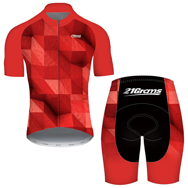 21Grams Men's Short Sleeve Cycling Jersey with Shorts Nylon Polyester Black / Red Plaid Checkered 3D Gradient Bike Clothing Suit Breathable 3D Pad Quick Dry Ultraviolet Resistant Reflective Strips