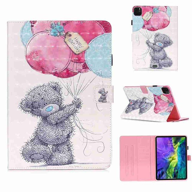 Case For Apple iPad Pro 11''(2020) / iPad 2019 10.2 / Ipad air3 10.5' 2019 Wallet / Card Holder / with Stand Full Body Cases Gray Bear PU Leather / TPU for iPad Air / iPad 4/3/2 / iPad (2018)