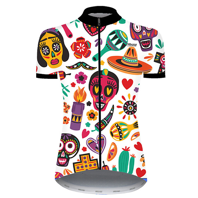 21Grams Women's Short Sleeve Cycling Jersey Nylon Polyester Red / White Skull Floral Botanical Funny Bike Jersey Top Mountain Bike MTB Road Bike Cycling Breathable Quick Dry Ultraviolet Resistant