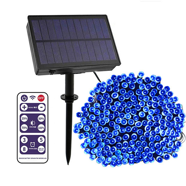 12-key Remote Control  100m String Lights 800 LEDs High Power LED 8 Mode Control  Dimming  Time Setting  Warm White White Blue Waterproof Outdoor Solar 12 V 1Set