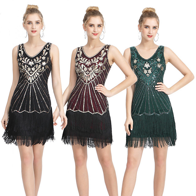 The Great Gatsby Vintage 1920s Flapper Dress Women's Sequins Tassel Fringe Costume Wine / Black / Red Vintage Cosplay Party Homecoming Prom Sleeveless