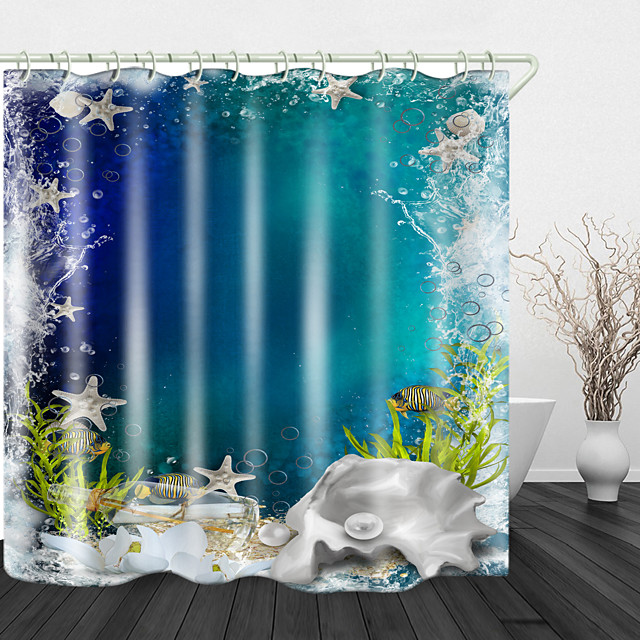 Starfish Digital Print Waterproof Fabric Shower Curtain for Bathroom Home Decor Covered Bathtub Curtains Liner Includes with Hooks