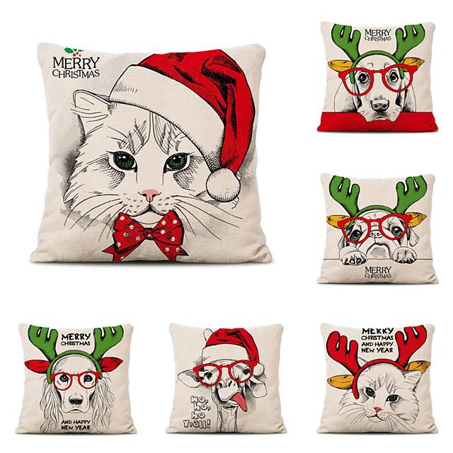 Set of 6 Linen Pillow Cover Christmas Contemporary Classic Christmas Throw Pillow