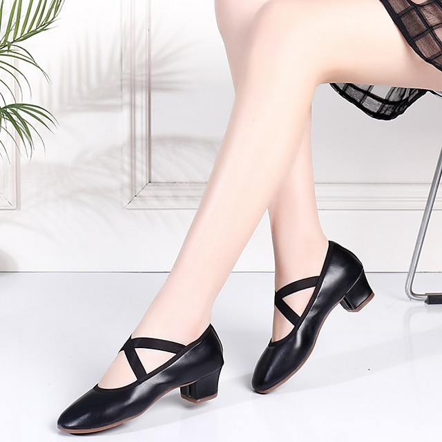Women's Dance Shoes Latin Shoes Heel Cuban Heel Black / Red / Performance