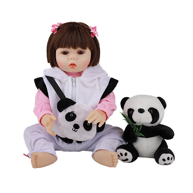 FeelWind 18 inch Reborn Doll Baby & Toddler Toy Reborn Toddler Doll Baby Girl Gift Cute Lovely Parent-Child Interaction Tipped and Sealed Nails Full Body Silicone LV033 with Clothes and Accessories