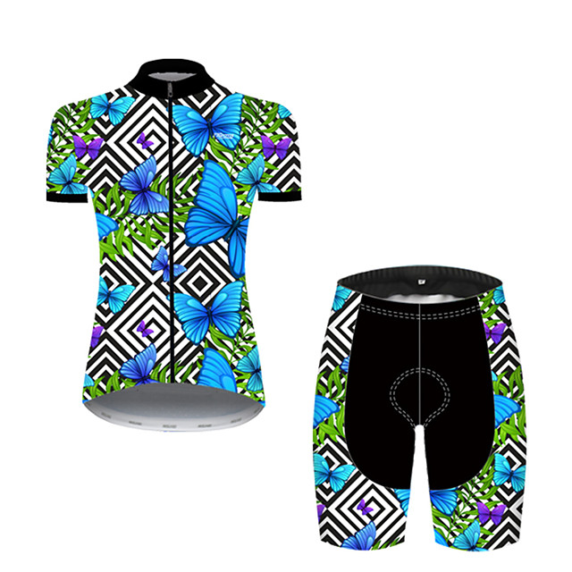 21Grams Women's Short Sleeve Cycling Jersey with Shorts Nylon Polyester Black / Blue Plaid Checkered Butterfly Bike Clothing Suit Breathable 3D Pad Quick Dry Ultraviolet Resistant Reflective Strips
