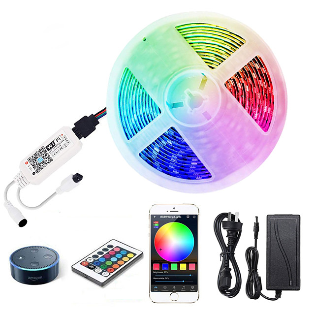 ZDM 5M LED Light Strips RGB Tiktok Lights WiFi Intelligent Remote Dimming Watetproof 300 LEDS 5050 SMD with IR24 key Controller Kit DC12V