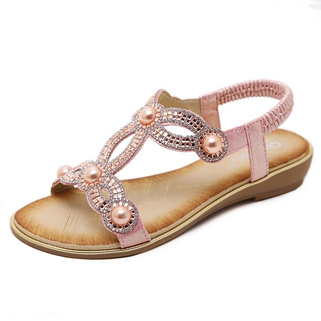 Women's Sandals Summer Flat Heel Open Toe Daily PU Black / Pink / Gold