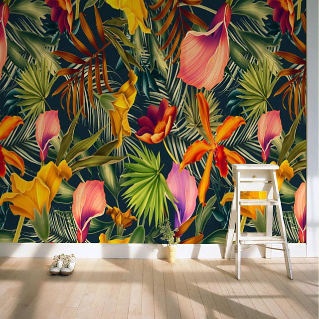 Custom Self-adhesive Mural Tropical Flowers Suitable for Background Wall Restaurant Bedroom Hotel Wall Decoration Art Room Wallcovering