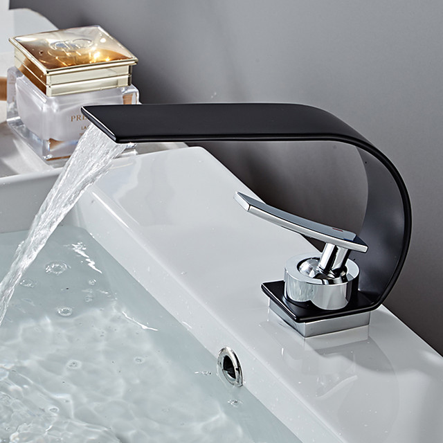 Bathroom Sink Faucet - Waterfall Painted Finishes Centerset Single Handle One HoleBath Taps