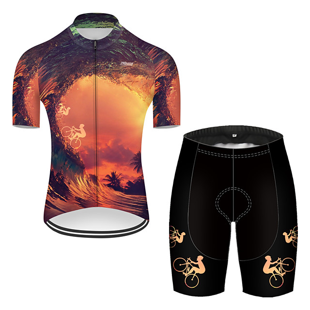 21Grams Men's Short Sleeve Cycling Jersey with Shorts Nylon Polyester Black / Yellow 3D Gradient Bike Clothing Suit Breathable 3D Pad Quick Dry Ultraviolet Resistant Reflective Strips Sports 3D