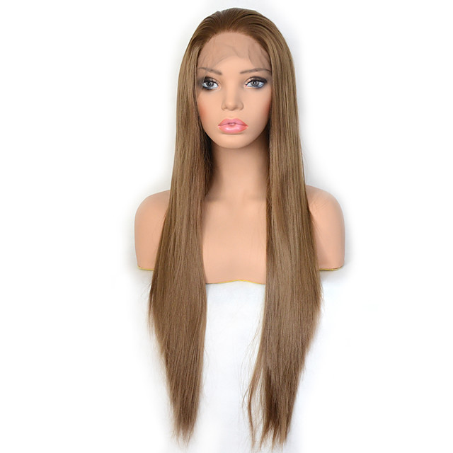 Vogue Queen Light Brown Synthetic Lace Front Wig Long Silky Straight Hair Daily Wearing For Women