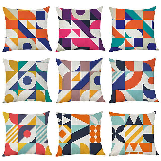 9 pcs Linen Pillow Cover, Mondriania Geometric Casual Modern Square Traditional Classic
