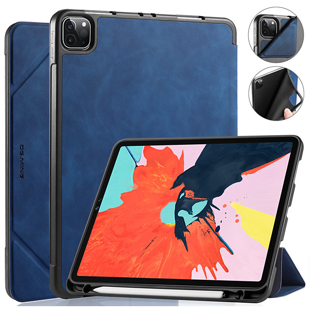 DG.MING Case For Apple iPad Pro 11 2020 Shockproof Auto Sleep / Wake Up Solid Colored Luxury PU Leather For iPad Pro 11 2018 Case Cover