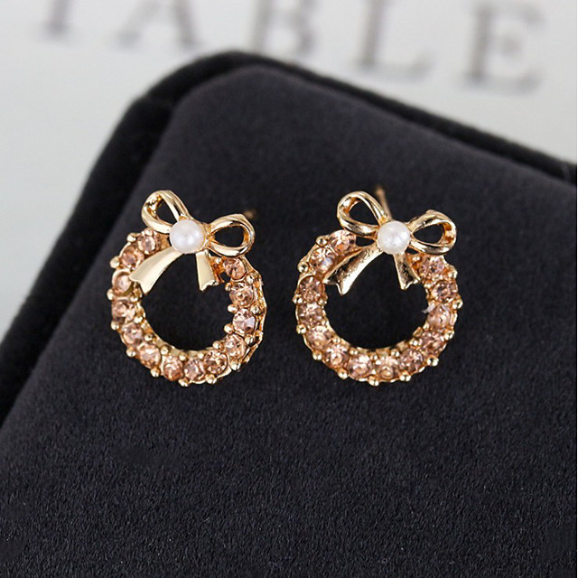 Women's Stud Earrings Classic Bowknot Sweet Cute Imitation Pearl Earrings Jewelry Champagne For Daily Street Work Festival 1 Pair