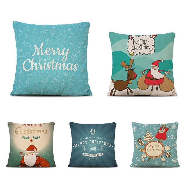 Set of 5 Merry Christmas Decorative Polyester Pillowcases Christmas Pillow Case Cover Santa Claus Elk Pillowcase