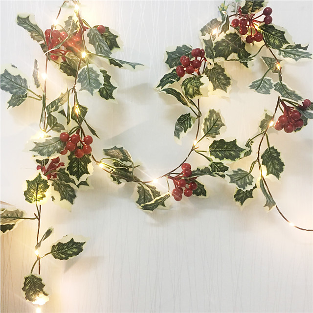 2M 20Leds Red Berry Christmas Garland Hand-made String Lights LED Copper Fairy Lights Ivy Leaf String Lights For Xmas Holiday Tree Home Decoration Lighting AA Battery Power (come without battery)