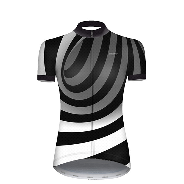21Grams Women's Short Sleeve Cycling Jersey Nylon Polyester Black / White 3D Stripes Gradient Bike Jersey Top Mountain Bike MTB Road Bike Cycling Breathable Quick Dry Ultraviolet Resistant Sports