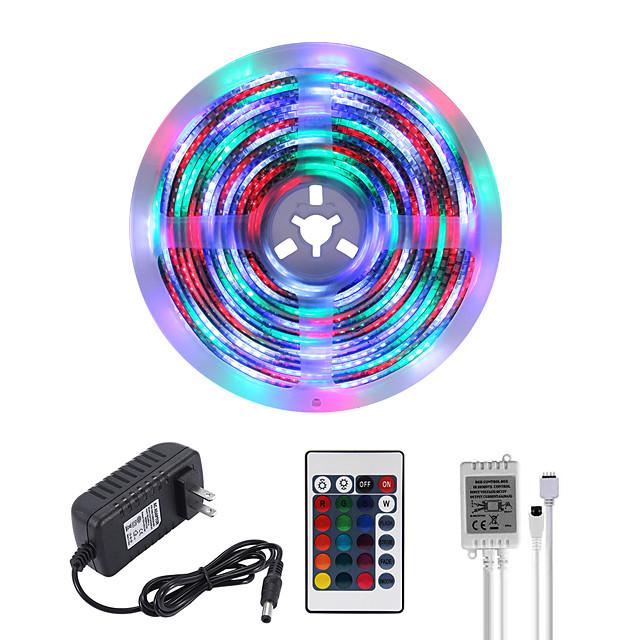 MASHANG Bright RGBW LED Strip Lights 5M Waterproof RGBW Tiktok Lights 1170LEDs SMD 2835 with 24 Keys IR Remote Controller and 100-240V Adapter for Home Bedroom Kitchen TV Back Lights DIY Deco