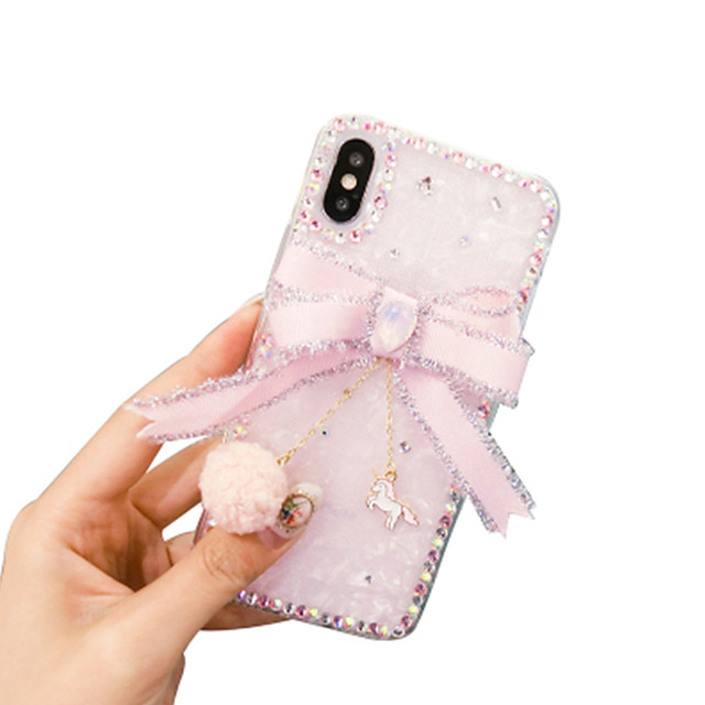 iPhone11Pro Max Princess Wind Shell Pattern Rhinestone Phone Case XS Max Bow Female Soft Shell 6 7 8Plus SE 2020 Protective Case