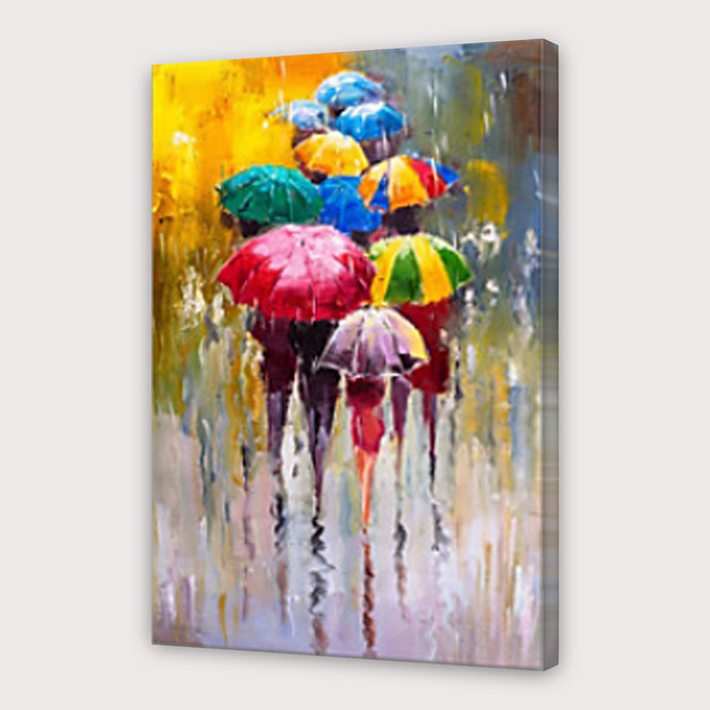 IARTS®Hand Painted Love in the rain Oil Painting   with Stretched Frame For Home Decoration