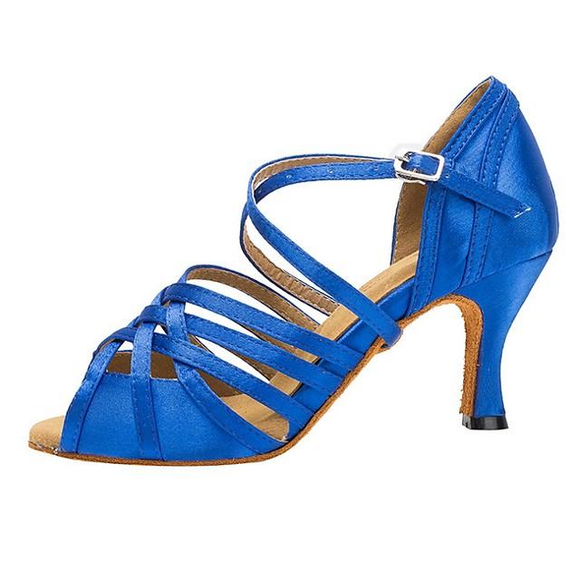 Women's Dance Shoes Latin Shoes Heel Cuban Heel Blue / Performance