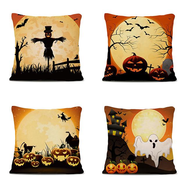 Set of 4 Cartoon Halloween Linen Square Decorative Throw Pillow Cases Sofa Cushion Covers 18x18