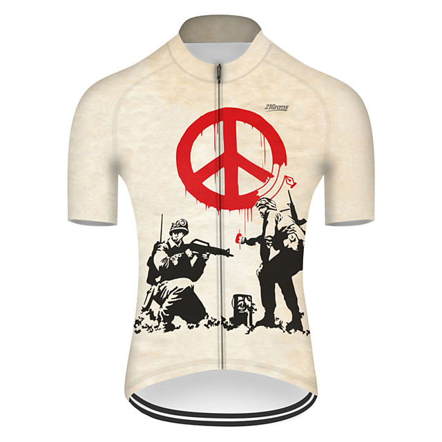 21Grams Men's Short Sleeve Cycling Jersey Nylon Polyester Yellow Novelty Peace & Love Bike Jersey Top Mountain Bike MTB Road Bike Cycling Breathable Quick Dry Ultraviolet Resistant Sports Clothing