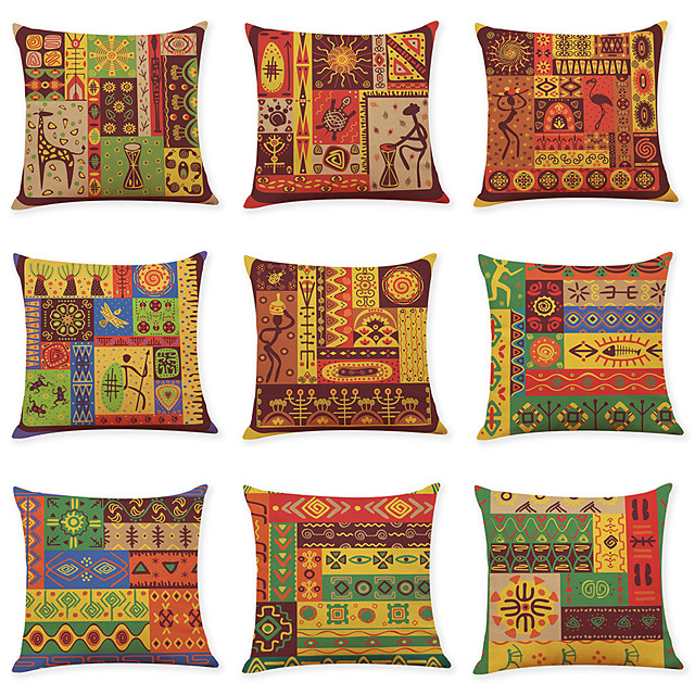 9 pcs Linen Pillow Cover, Indian Style Square Traditional Classic