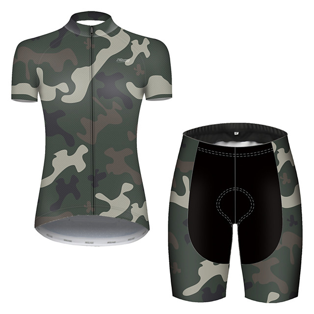 21Grams Women's Short Sleeve Cycling Jersey with Shorts Nylon Polyester Camouflage Patchwork Camo / Camouflage Bike Clothing Suit Breathable 3D Pad Quick Dry Ultraviolet Resistant Reflective Strips
