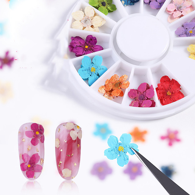12 pcs Creative / Light and Convenient Plastics Nail Jewelry For Finger Nail Flower nail art Manicure Pedicure Party / Evening / Festival Sweet / Cute