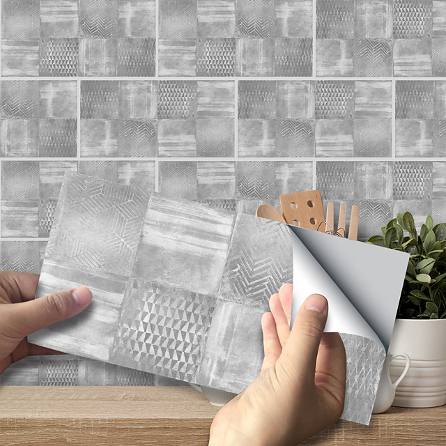 20x10cmx9pcs Light Gray Cement Brick Stickers Retro Oil-proof Waterproof Tile Wallpaper For Kitchen Bathroom Ground Wall House Decoration