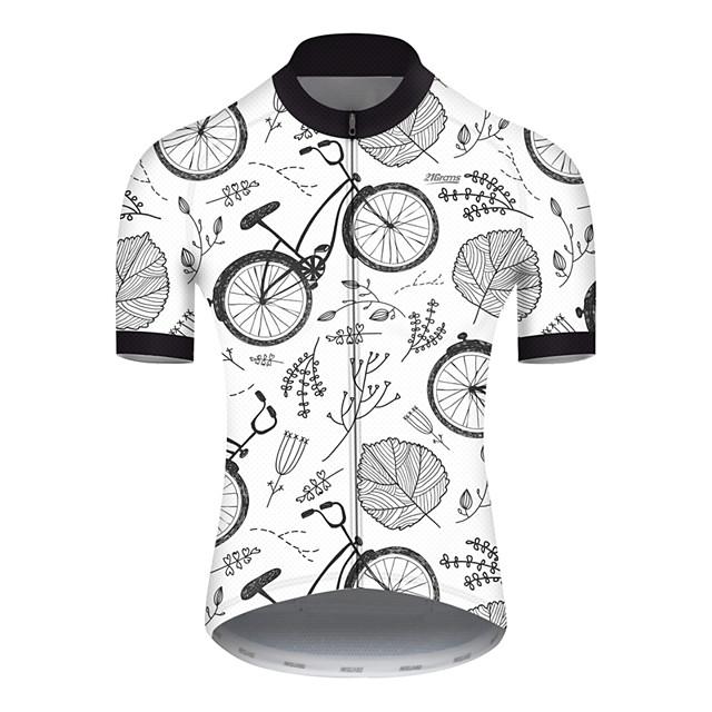 21Grams Men's Short Sleeve Cycling Jersey Nylon Polyester Gray+White Leaf Floral Botanical Bike Jersey Top Mountain Bike MTB Road Bike Cycling Breathable Quick Dry Ultraviolet Resistant Sports