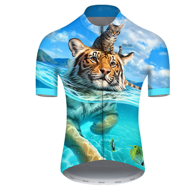 21Grams Men's Short Sleeve Cycling Jersey Nylon Polyester Blue Animal Tiger Bike Jersey Top Mountain Bike MTB Road Bike Cycling Breathable Quick Dry Ultraviolet Resistant Sports Clothing Apparel
