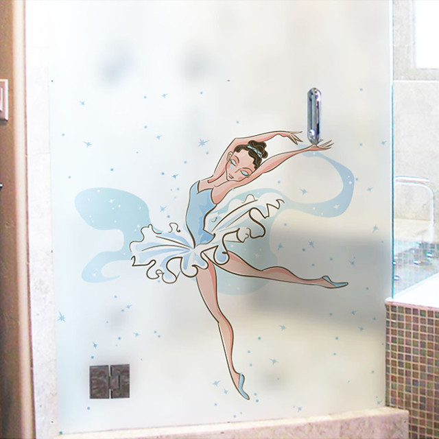 Cartoon Dancing Girl Pattern Matte Window Sticker Bathroom Kitchen Kids Room Shop Living Room Bedroom Balcony Window Film 60*58cm