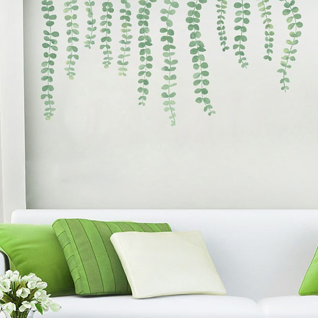 Floral Botanical Wall Stickers Plane Wall Stickers Decorative Wall Stickers PVC Home Decoration Wall Decal Wall Window Decoration 1pc