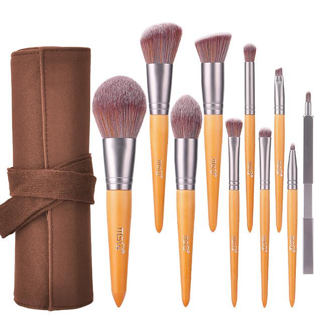 Professional Makeup Brushes 10pcs Professional Full Coverage Comfy Artificial Fibre Brush Wooden / Bamboo for Blush Brush Foundation Brush Makeup Brush Eyeshadow Brush