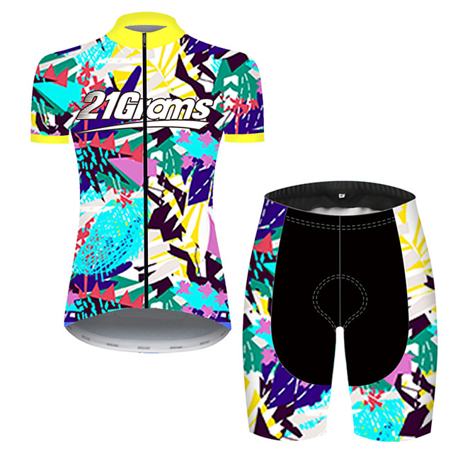 21Grams Women's Short Sleeve Cycling Jersey with Shorts Nylon Polyester Blue+Yellow Gradient Bike Clothing Suit Breathable 3D Pad Quick Dry Ultraviolet Resistant Reflective Strips Sports Geometric